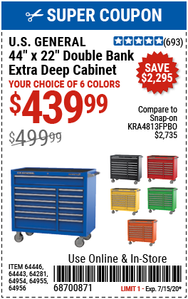 44 in. x 22 In. Double Bank Red Roller Cabinet