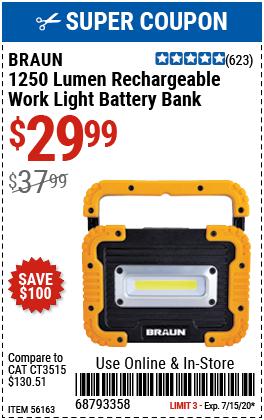 1250 Lumen Work Light Battery Bank