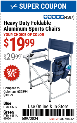 Foldable Aluminum Sports Chair - Green