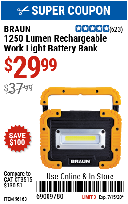 1250 Lumen Work Light Battery Bank