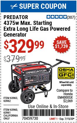 4375 Watt Max Starting Extra Long Life Gas Powered Generator - EPA III