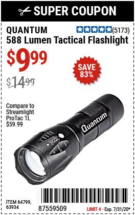 588 Lumen Tactical Flashlight - Black