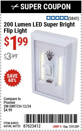200 Lumen LED Super Bright Flip Light