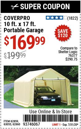 10 ft. x 17 ft. Portable Garage