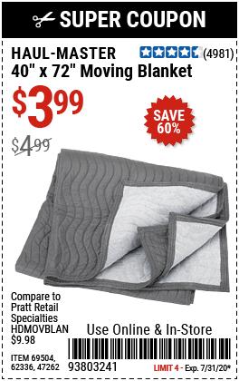 40 in. x 72 in. Moving Blanket