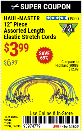Assorted Length Elastic Stretch Cords, 12 Pc.