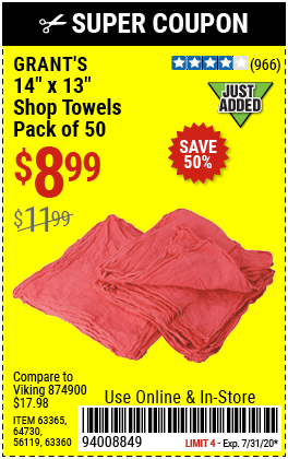 Mechanic's Shop Towels 14 in. x 13 in., 50 Pk.