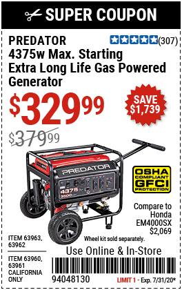 4375 Watt Max Starting Extra Long Life Gas Powered Generator - EPA III