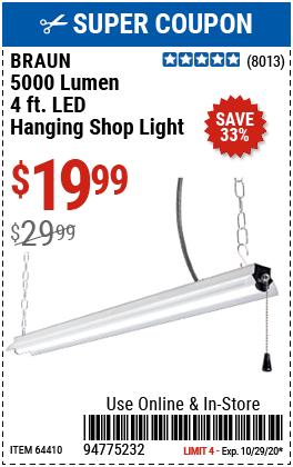 4 Ft. LED Hanging Shop Light
