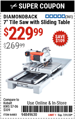 7 in.  Heavy Duty Wet Tile Saw with Sliding Table