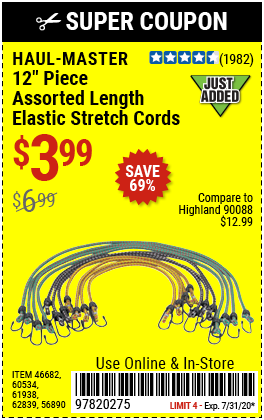 Assorted Length Elastic Stretch Cords, 12 Pc.