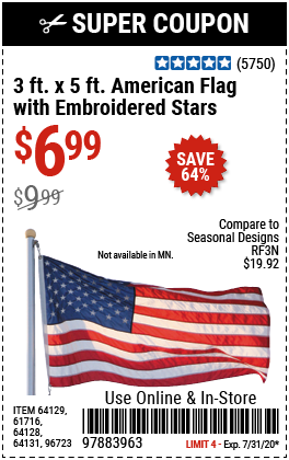 3 Ft. x 5 Ft. American Flag with Embroidered Stars