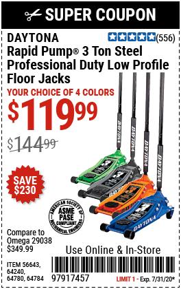 3 Ton Low Profile Professional Rapid Pump® Floor Jack - Blue