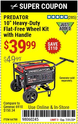 10 in. Heavy Duty Generator Wheel Kit