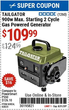900 Watt Max Starting 2 Cycle Gas Powered Generator - EPA/CARB