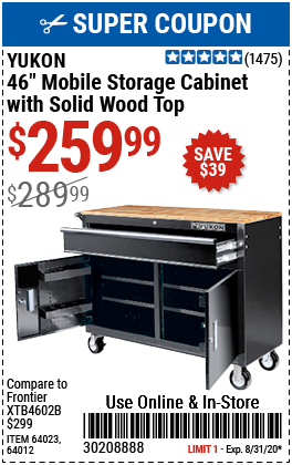 46 in. Mobile Workbench with Solid Wood Top - Black