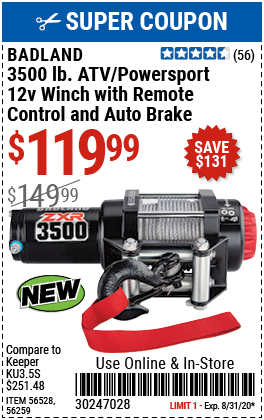 3500 lb. ATV/Powersport 12V Winch with Automatic Load-Holding Brake