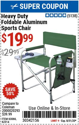 Foldable Aluminum Sports Chair - Green