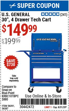30 in. 4 Drawer Blue Tech Cart