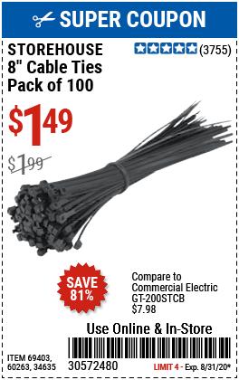 8 in.  Black Cable Ties 100 Pk.