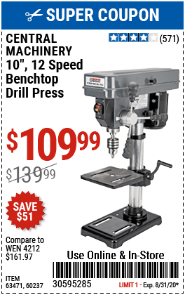 10 in. 12 Speed Bench Drill Press