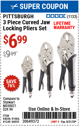 Curved Jaw Locking Pliers Set, 3 Pc.