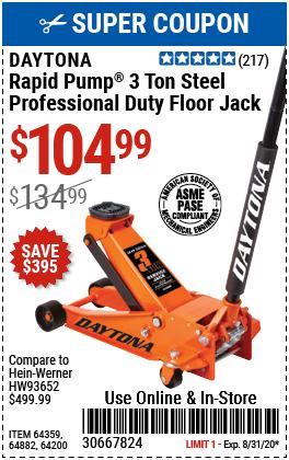 3 Ton Professional Rapid Pump® Floor Jack - Orange