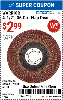 4-1/2 in. 36 Grit Aluminum Oxide Type 27 Flap Disc