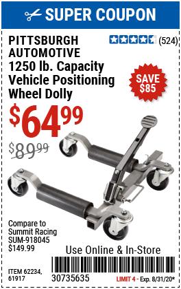 1250 lb. Capacity Vehicle Positioning Wheel Dolly