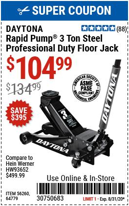 3 ton Professional Rapid Pump® Floor Jack - Black