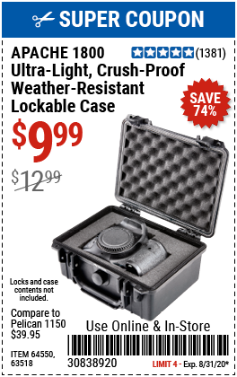 1800 Weatherproof Protective Case  –  Small