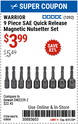 SAE Quick Release Magnetic Nutsetter Set, 9 Pc.