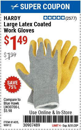 Latex Coated Work Gloves Large