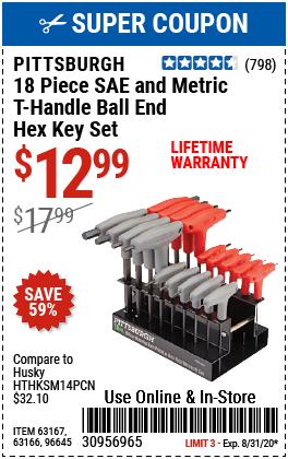 SAE & Metric T-Handle Ball End Hex Key Set, 18 Pc.