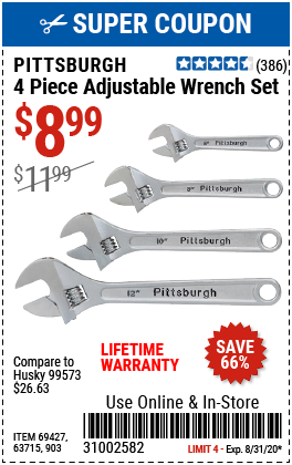4 Pc Adjustable Wrench Set