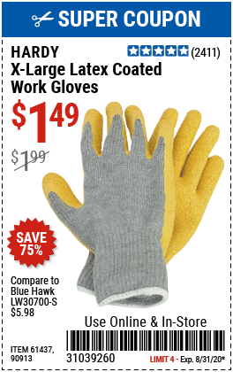 Latex Coated Work Gloves X-Large