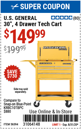 30 in. 4 Drawer Yellow Tech Cart