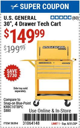 30 in. 4 Drawer Yellow Tech Cart