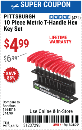 Metric T-Handle Hex Key Set, 10 Pc.