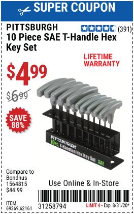 SAE T-Handle Hex Key Set, 10 Pc.