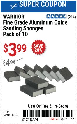 Aluminum Oxide Sanding Sponges - Fine Grade, 10 Pk.