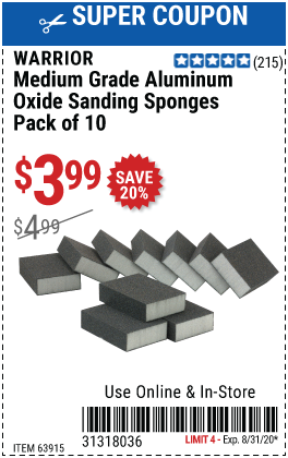 Aluminum Oxide Sanding Sponges - Medium Grade, 10 Pk.