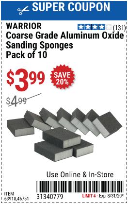 Aluminum Oxide Sanding Sponges - Coarse Grade, 10 Pk.