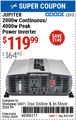 2000 Watt Continuous/4000 Watt Peak Modified Sine Wave Power Inverter