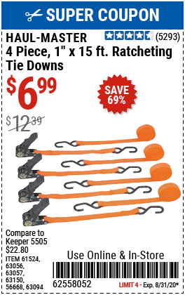 400 lb. Capacity 1 in. x 15 ft. Ratcheting Tie Downs, 4 Pk.