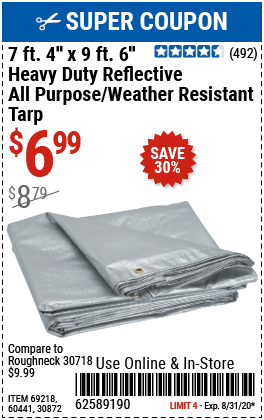 7 ft. 4 in. x 9 ft. 6 in. Silver/Heavy Duty Reflective All Purpose/Weather Resistant Tarp