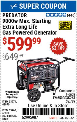 9000 Watt Max Starting Extra Long Life Gas Powered Generator - CARB