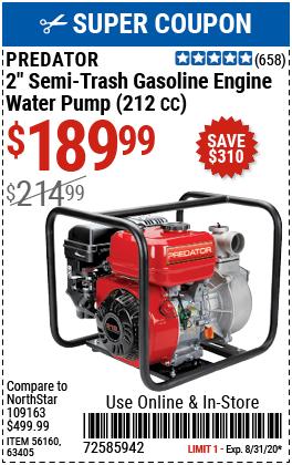 2 in. 212cc Gasoline Engine Semi-Trash Water Pump - 158 GPM