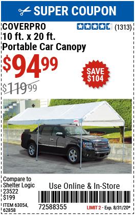 10 Ft. x 20 Ft. Portable Car Canopy