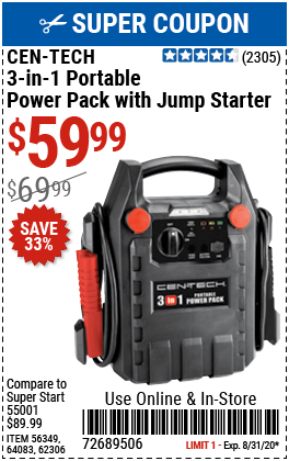 3-in-1 Power Pack with Jump Starter